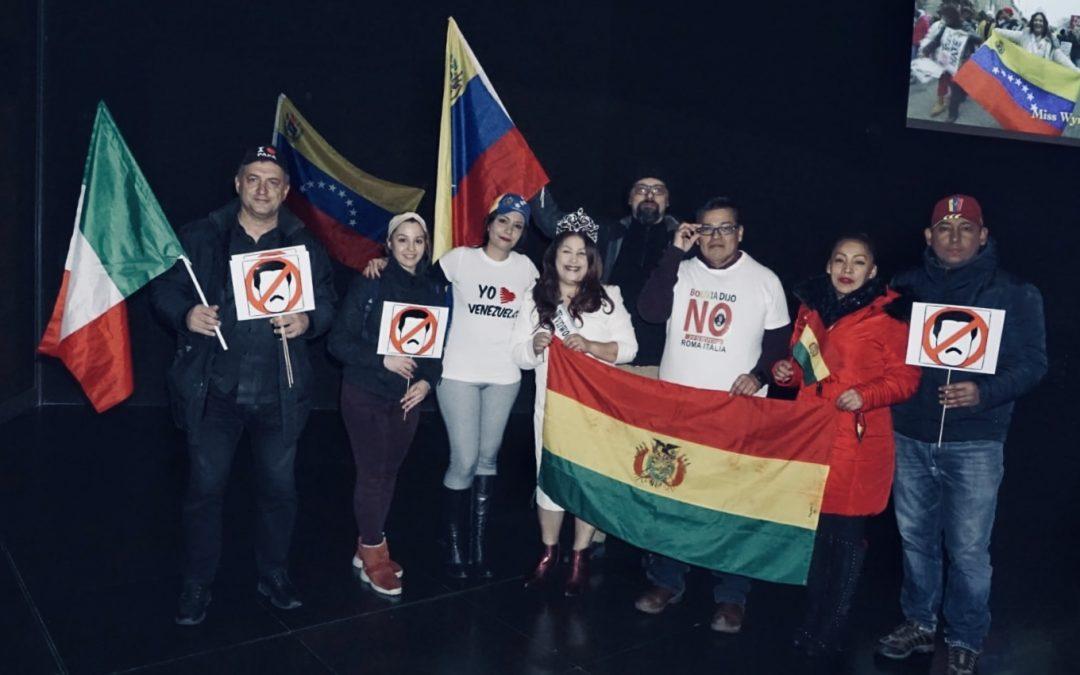 Roma: Nina Dotti protestó contra Maduro en el Macro
