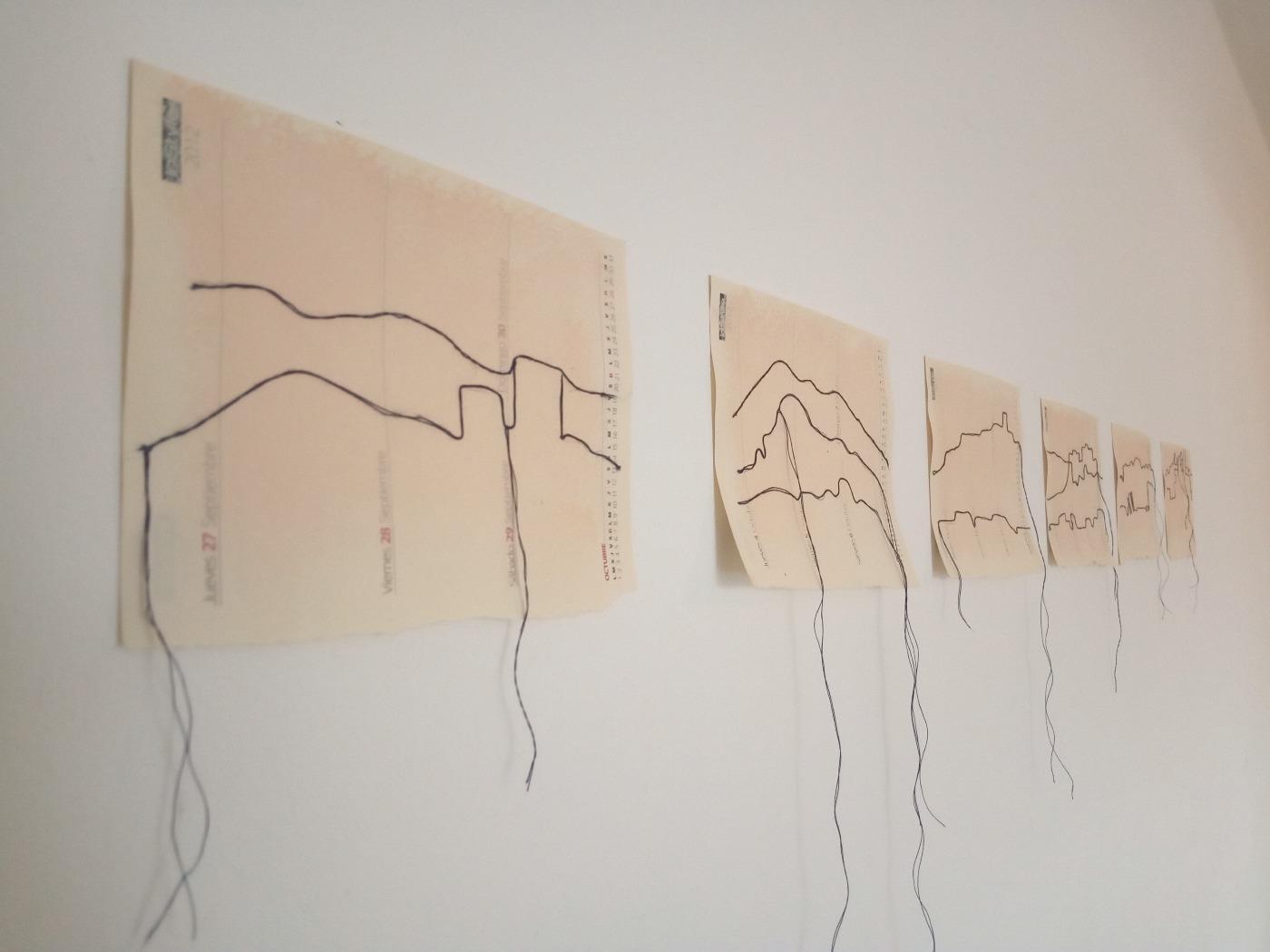 Fragmentos de Paisajes. Dibujo sobre papel y hilo. 2020